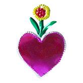 figuur van blik hart roze en bloem geel