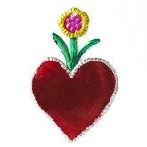 figuur van blik hart rood en bloem geel