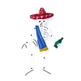 magneetje van blik skelet macho hoed rood