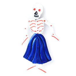 magneetje van blik skelet dame blauw