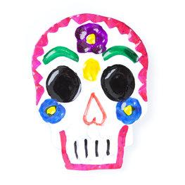 magneetje van blik schedel roze