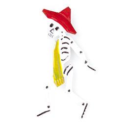 magneetje van blik skelet hoed oranje das geel