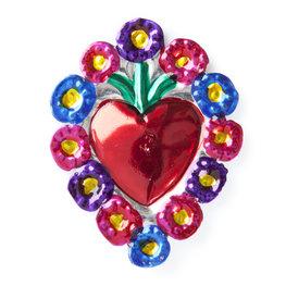 magneetje van blik hart bloemen luxe