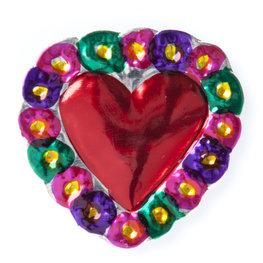 magneetje van blik hart bloemen groen