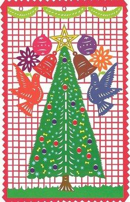 kerstkaart papel picado kerstboom