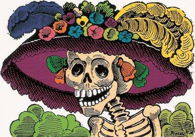 wenskaart dia de los muertos of halloween la catrina clásico