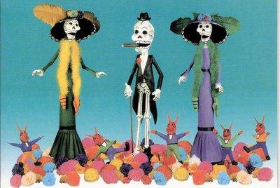 wenskaart dia de los muertos of halloween de wandeling