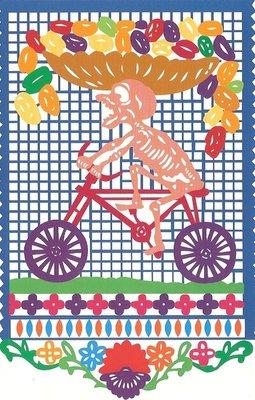 wenskaart dia de los muertos of halloween fietsbakker