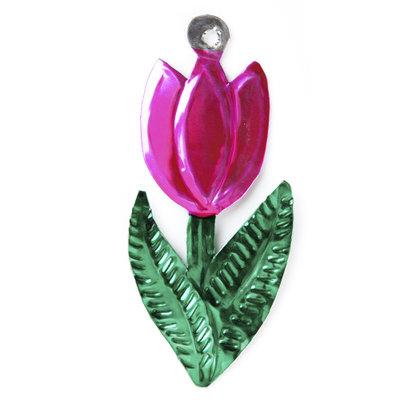 figuur van blik tulp roze