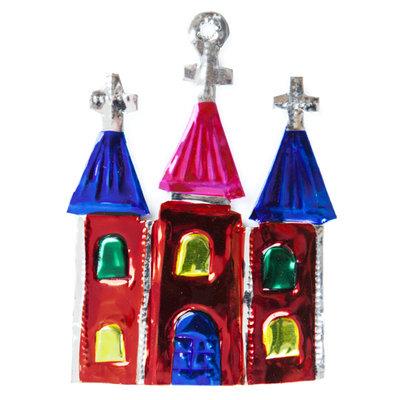 figuur van blik kerk rood