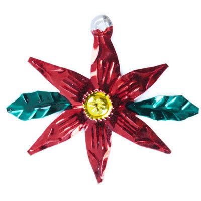 figuur van blik kerstroos blad