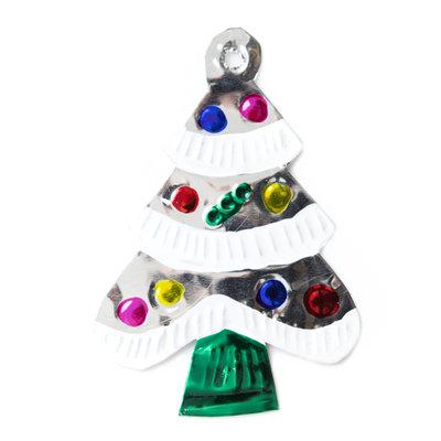 figuur van blik kerstboom zilver sneeuw
