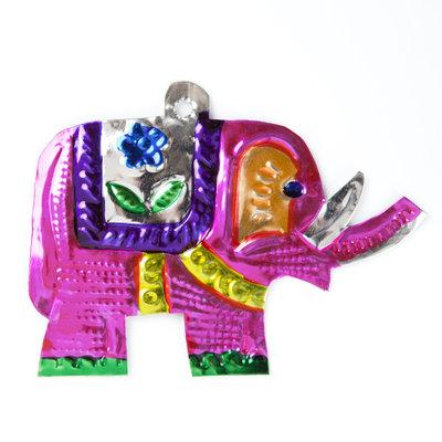 figuur van blik olifant roze
