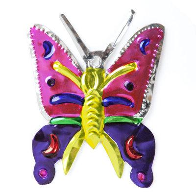 figuur van blik vlinder roze