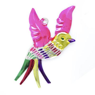 figuur van blik vogel roze