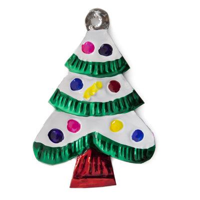 figuur van blik kerstboom groen sneeuw