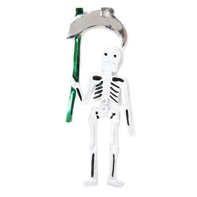 figuur van blik skelet zeis groen