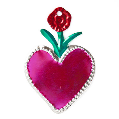 figure of can heart pink and flower red
