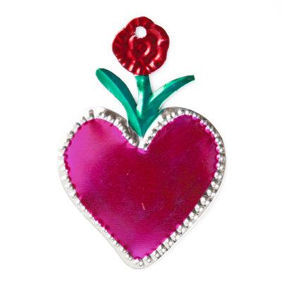 figuur van blik hart roze en bloem rood