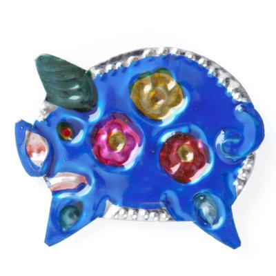 magneetje van blik varken blauw