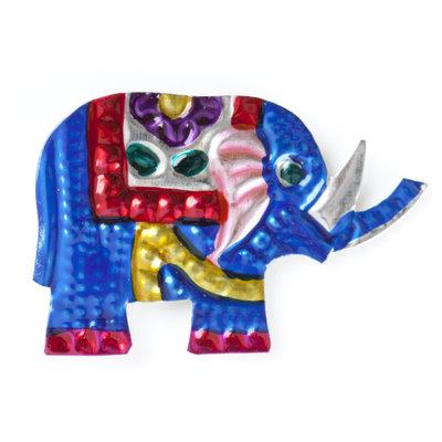 magneetje van blik olifant blauw
