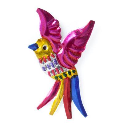 magneetje van blik vogel roze