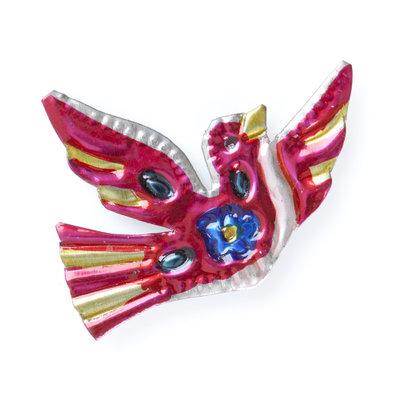 magneetje van blik duif speels roze