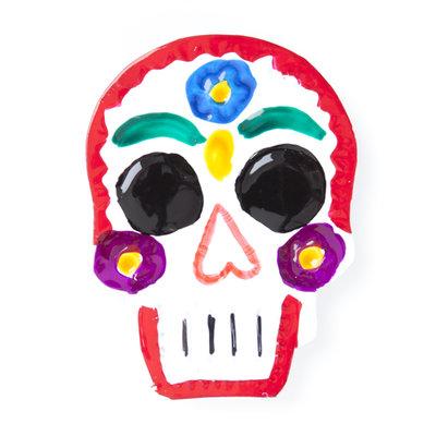magneetje van blik schedel rood