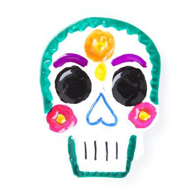 magneetje van blik schedel groen