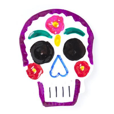 magneetje van blik schedel paars
