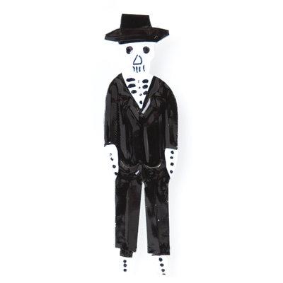 magneetje van blik skelet heer zwart