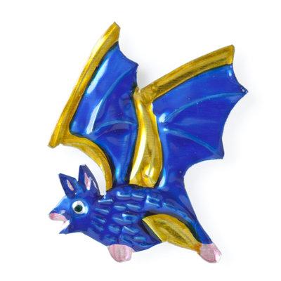 magneetje van blik vleermuis blauw