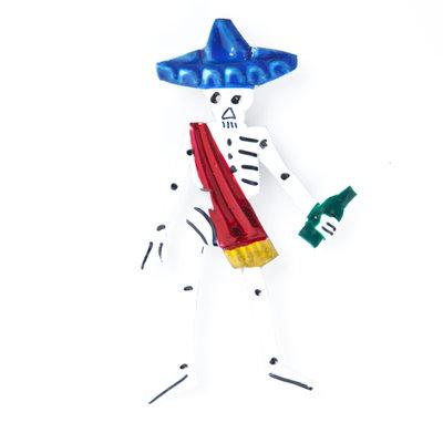 magneetje van blik skelet macho hoed blauw