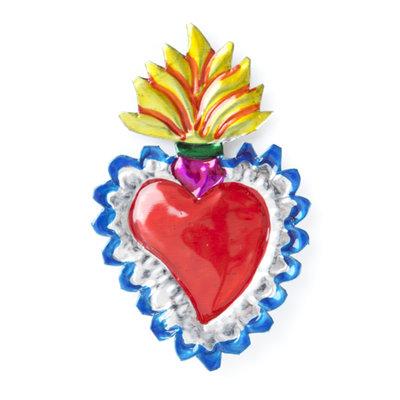 magneetje van blik hart tropisch blauw