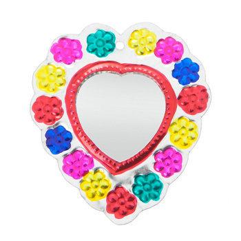 spiegeltje van blik klein hart gekleurd