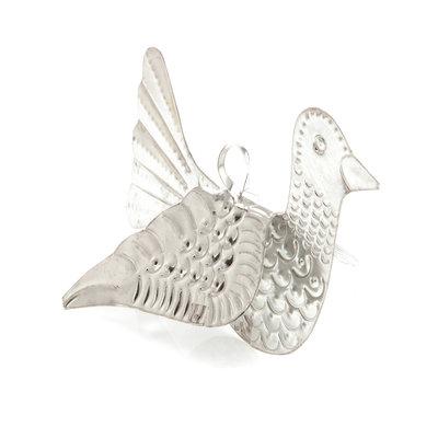 vogeltje van blik zilver