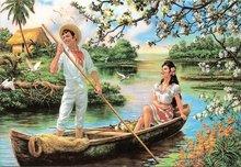 valentijnskaart liefdesbootje