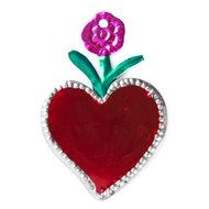 figuur van blik hart rood en bloem roze