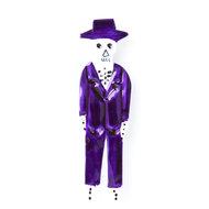 magneetje van blik skelet heer paars