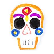 magneetje van blik schedel oranje