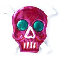 magneetje van blik schedel bot roze