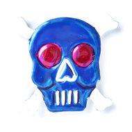 magneetje van blik schedel bot blauw