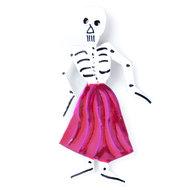 magneetje van blik skelet dame roze