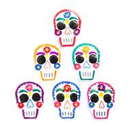magneetjes van blik kleurrijke schedels