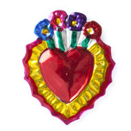 magneetje van blik hart bloemen geel